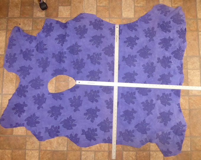 """SUEDE Leather CLOSE0UT 14.4 sq ft Purple Large FLOWER (Flower measures 3""""x5"""") Very Thin  PIGSKIN 1.25 oz / 0.5 mm #107 PeggySueAlso™ E2831"""