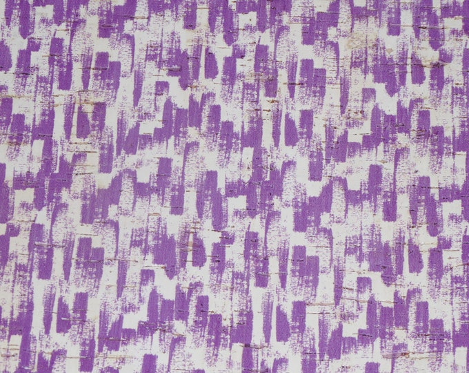 """Cork 5""""x11"""" Paint Brush Strokes IRISH PURPLE  on white Cork applied to Leather 4 body/strength Thick 5oz/2mm PeggySueAlso™ E5610-102"""