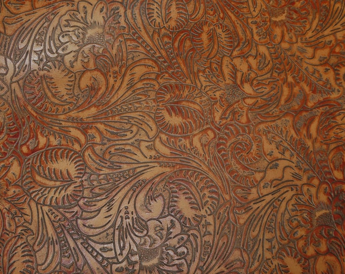 """Leather 12""""x12"""" Western Tool Floral Leaf NUTMEG Reddish Brown Cowhide 2.5-3oz/1-1.2mm PeggySueAlso™ E2838-11 Hides Too"""