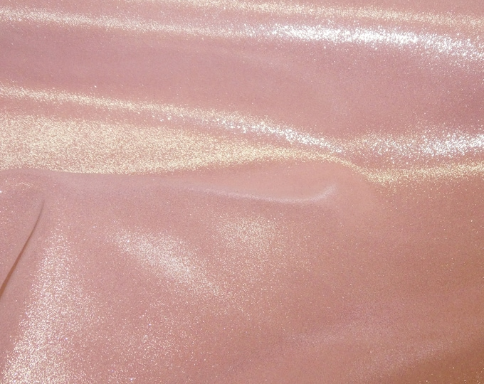 Metallic Leather 3 or 4 or 5 or 6 sq ft Dazzle Silver on PINK LEMONADE Suede Cowhide 2.5 oz / 1 mm PeggySueAlso™ E8300-09
