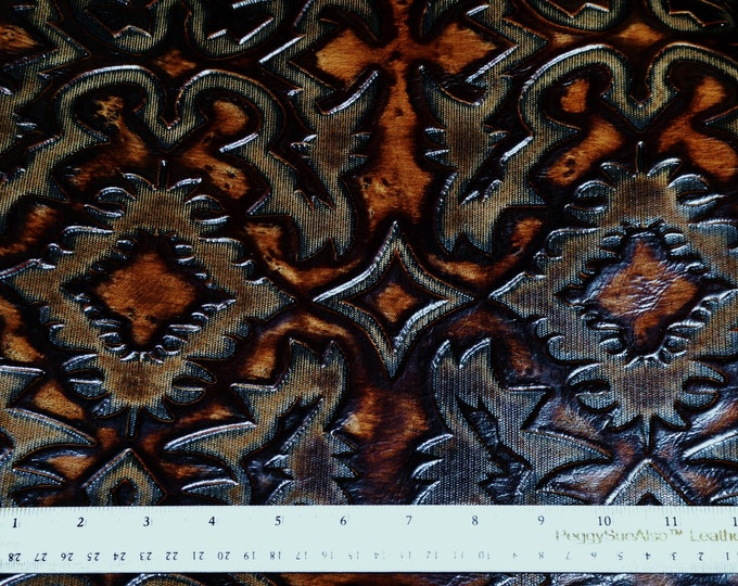 Leather 3 - 4 - 5 or 6 sq ft Sante Fe Southwestern Accent MOCHA and BROWN Embossed Cowhide 2-2.5 oz / 1-1.2 mm PeggySueAlso™ E2400-06