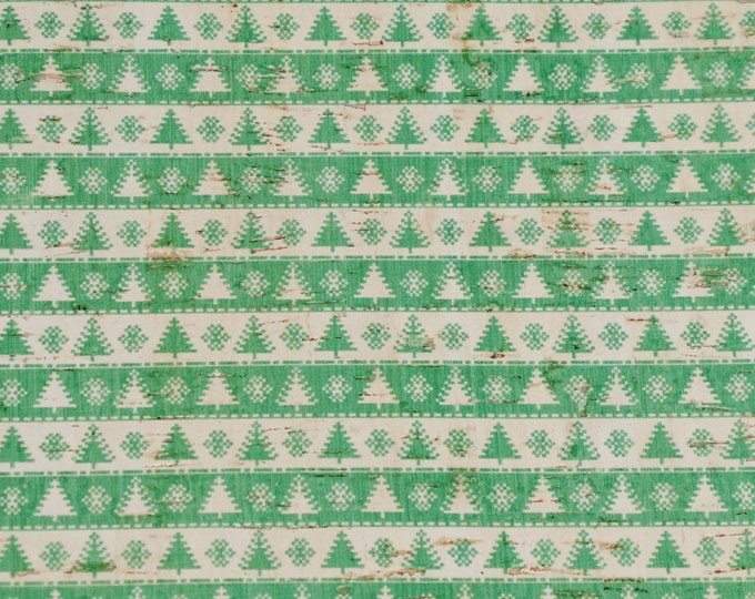"""Cork 8""""x10"""" CHRISTMAS GREEN Trees / White Snowflake Stripes on CORK glued to Leather for body/strength Thick 5oz/2mm PeggySueAlso™ E5610-84"""
