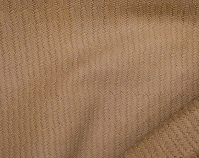 "Leather 12""x12"" Braided Fishtail Dark BEIGE  Cowhide 3-3.5 oz / 1.2-1.4 mm PeggySueAlso™ E3160-21 Limited"
