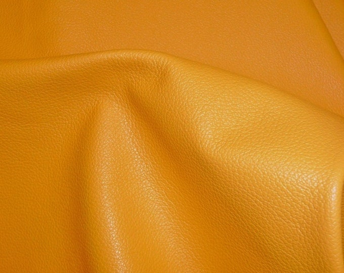 "Leather 12""x12"" Divine LIGHT MUSTARD YELLOW Top Grain Cowhide 2-2.5 oz /1-1.2mm  PeggySueAlso™ E2885-10 Full hides available"