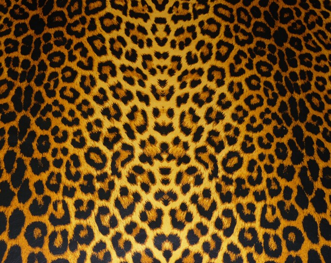 """Leather 8""""x10"""" Cheetah / Leopard OCHRE large size print on Golden Cowhide NOT Hair-On 2-2.5 oz / 0.8-1 mm PeggySueAlso™ E1650-04 hides too"""