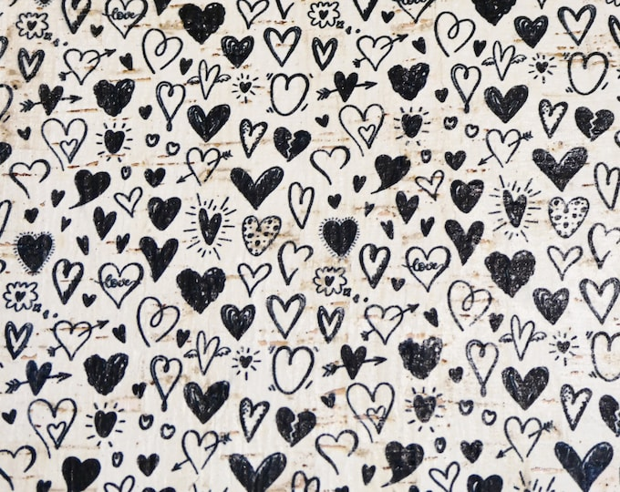 "Cork 12""x12"" COLLECTION of HEARTS on White CORK applied to leather THiCK 5oz/ 2 mm PeggySueAlso™ E5610-132 Valentine"