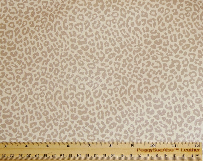 "Leather 8""x10"" NUDE LEOPARD Print on Soft Cream Cowhide 3.25-3.5oz/1.3-1.5mm #409 PeggySueAlso™ E1673-01 (more on order)"