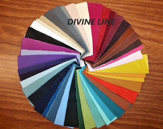 "Leather 5""x11"" DIVINE Top grain Cowhide 2-2.5oz /0.8-1 mm Your choice of color -  PeggySueAlso™ E2885 Full hides available"