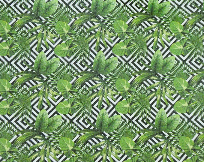 """Leather 12""""X12"""" Tropical Leaves on Black Geometric Squares Cowhide 2.75-3 oz/1.1-1.2 mm PeggySueAlso™ E1430-02"""