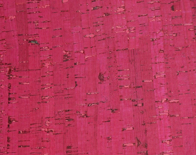 "Cork 12""x12"" HOT PINK Cork applied to Cowhide GENUINE Leather for body/strength Thick 5oz/2mm E5610-55 More on order"