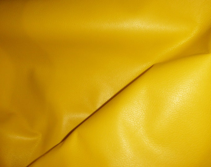 "Leather 8""x10"" Divine CANARY YELLOW top grain Cowhide 2-2.5 oz / 0.8-1 mm PeggySueAlso™ E2885-32 Full Hides Available"