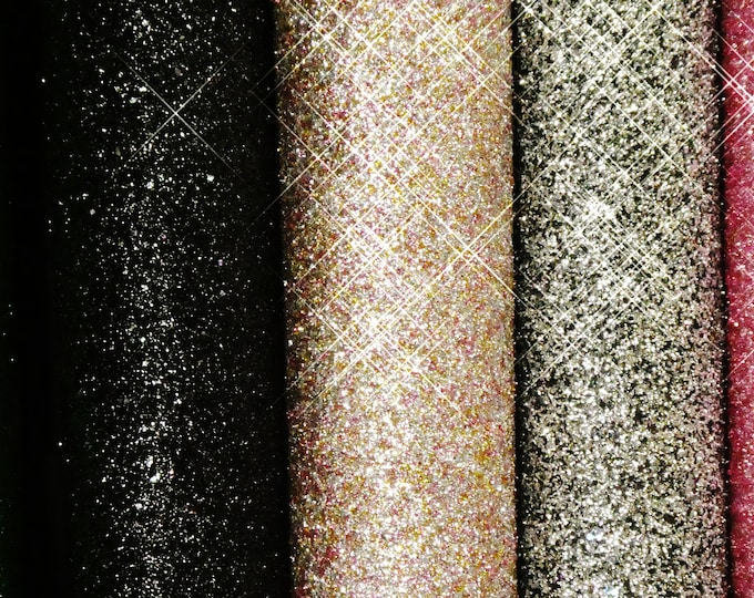 "5 new colors CHUNKY GLITTER METALLIC 8""x10"" Fabric applied to Leather Cowhide for firmness Thick 4.5-5 oz/1.8-2mm PeggySueAlso™ E4355"