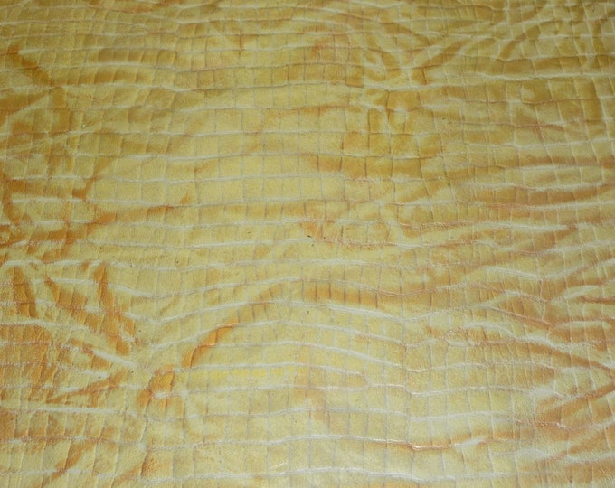 "Leather 12""x12"" Metallic Gold and Copper Reptile Embossed Cowhide 2.25-2.5oz/ .9-1 mm PeggySueAlso™ limited"