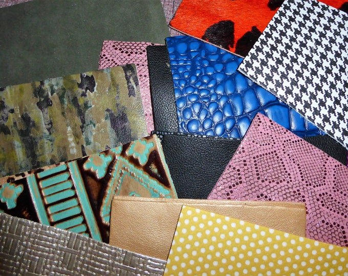 "Leather MYSTERY / SAMPLE / STARTER Pack 20 Pieces 4""x6"" Assorted Colors Patterns and thicknesses PeggySueAlso™"