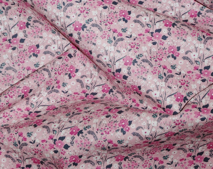 Leather 3 sq ft Wild Flower Field of PINK / white Flowers on PINK Cowhide 2.75-3 oz/1.1-1.2 mm PeggySueAlso™ E1191-01