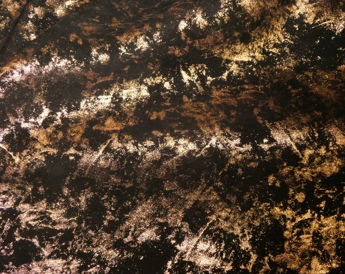 "Metallic Leather 8""x10"" Northern Lights Metallic ROSE GOLD on BLACK Cowhide 3.5 oz / 1.4 mm PeggySueAlso™ E6525-05 Hides Available"