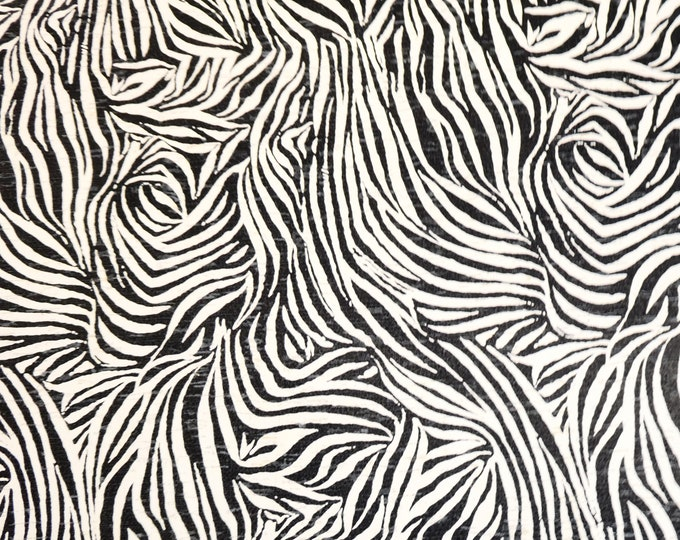 """Cork 5""""x11"""" CRAZY ZEBRA print on WHITE CoRK applied to Leather for body/strength Thick 5.5oz/2.2mm PeggySueAlso™ E5610-25A"""