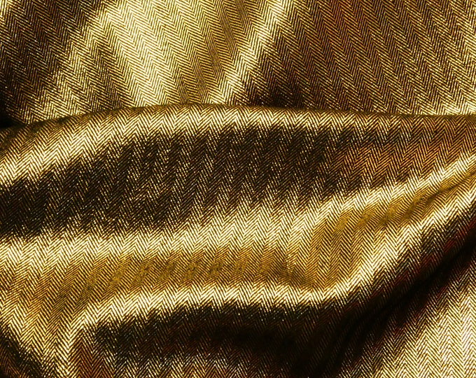"Metallic Leather 5""x11""  GOLD STRIPED TWEED on Black Cowhide 3-3.25 oz / 1.2-1.3 mm #504  PeggySueAlso™ E7215-02 limited"