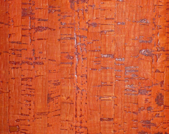 """NeW Cork 12""""x12"""" BURNT PUMPKIN ORANGE Cork applied to Cowhide leather for body/strength Thick 5oz/2mm E5610-220"""