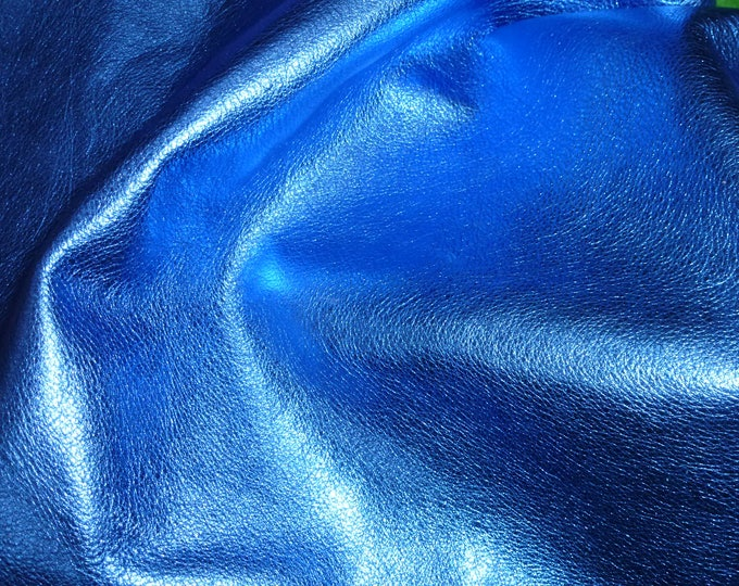 """Metallic Leather 12""""x12"""" Pebbled  ROYAL Blue shows the grain cowhide 2.5-3 oz / 1-1.2 mm PeggySueAlso™ E4100-15 Full hides available"""