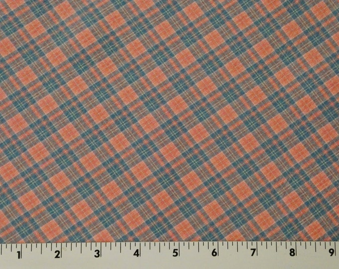 "Leather 5""x11"" Tartan Plaid Print TEAL and SALMON Stripes Cowhide 3-3.5 oz /1.2-1.4 mm PeggySueAlso™ E2178-05 limited m"