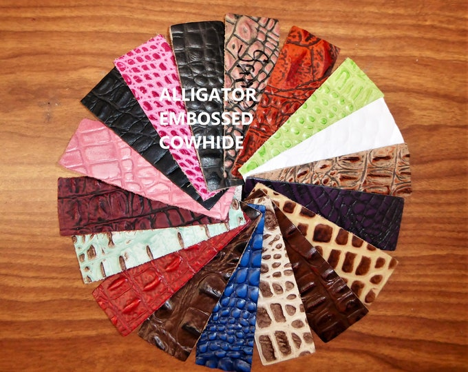 "Leather 8""x10"" ALLIGATOR / Croc grain Hornback embossed Cowhide Choose your color! 2-3.5oz /0.8-1.4mm PeggySueAlso™ E2860"