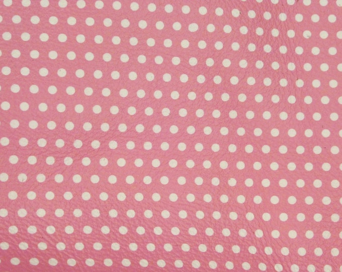 """Leather 5""""x11"""" Small WHITE Polka Dots on PINK (gray backside) Cowhide 4 dots per inch 3oz /1.2mm #485 PeggySueAlso™  E3090-54 Limited"""