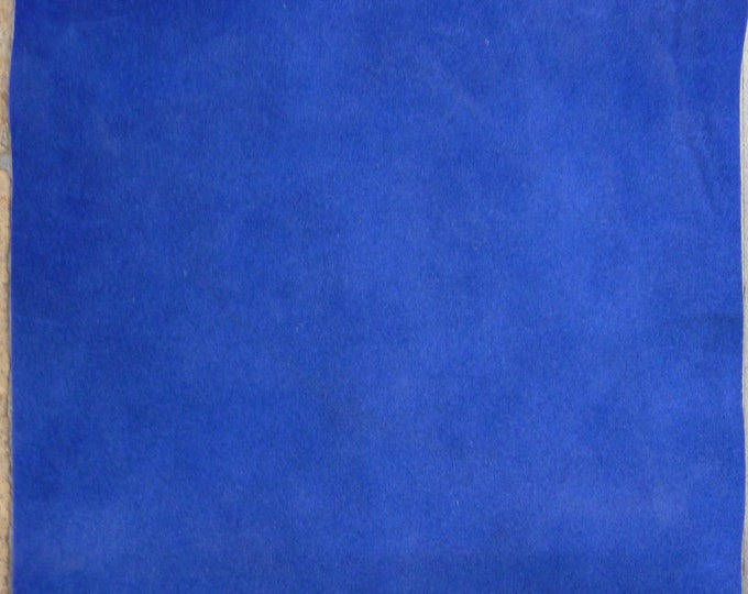 """Suede Leather 12""""x20"""" or 15""""x15"""" or 10""""x24"""" ROYAL BLUE Garment Grade Suede Cowhide 3.75-4 oz / 1.5-1.6 mm PeggySueAlso™ E2825-06"""