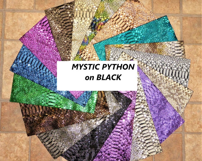 Metallic Leather 3 to 6 sq ft Mystic Python Snake ON BLACK thicknesses vary (see description) PeggySueAlso™ E2868