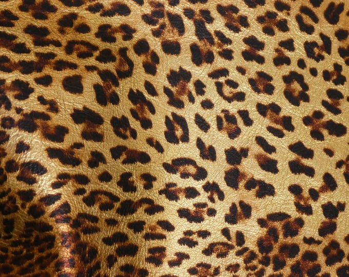 "Metallic Leather 8""x10"" GOLD METALLIC Banana Leopard on Sandy Brown Cowhide 3.25oz/1.3mm PeggySueAlso™ E2550-01A Hides Available"