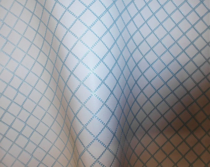 """Metallic Leather 12""""x12"""" Chain Quilted Pattern BABY BLUE  1/2"""" on WHITE Cowhide 3-3.5 oz / 1.2-1.4 mm PeggySueAlso™ E3450-01"""