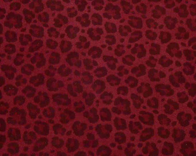 """Suede 8""""x10"""" BLACK on BURGUNDY / MAROON Mini Cheetah / Leopard Print Suede Leather 3.25-3.5oz/1.3-1.4 mm PeggySueAlso™ E2550-42 Hides too"""