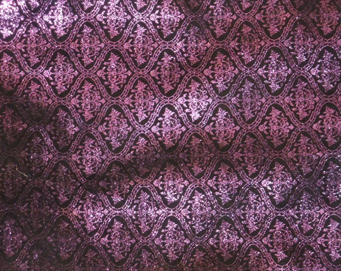"""Leather 12""""x12"""" DAMASK Metallic PURPLE with a bit of green Renaissance on Black Cowhide 3-3.5 oz/1.2-1.4 mm PeggySueAlso™ E1340-02"""