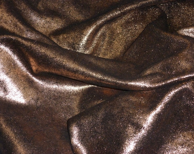 Leather 3 - 5 sq ft Vintage Crackle Rose Gold / Copper Metallic on BLACK Cowhide 3.5-4 oz / 1.4-1.6 mm PeggySueAlso™ E2844-04