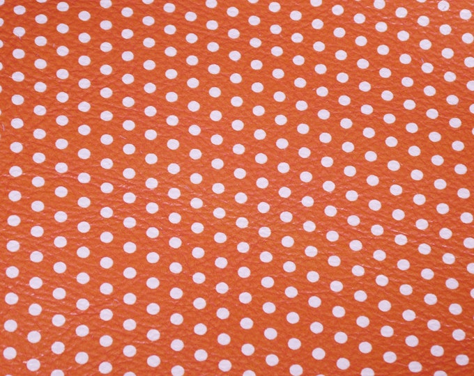 Leather 3-6 sq ft Polka Dots Small WHITE on ORANGE DP (gray backside) Cowhide 3 oz/1.2 mm PeggySueAlso™ E3090-45