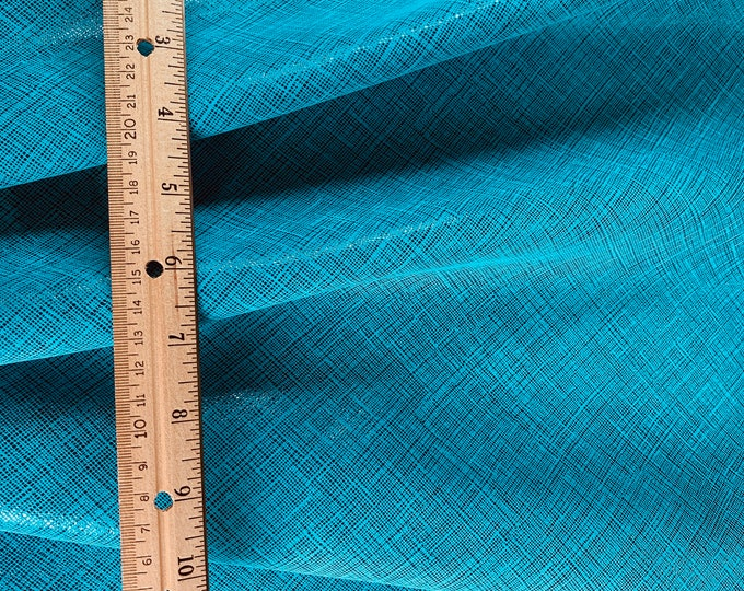"Leather 8""x10"" Saffiano look TWO TONE TURQUOISE and Black Glitter Linen Weave Soft Cowhide 3-3.5 oz/1.2-1.4 mm PeggySueAlso™ E8201-33"