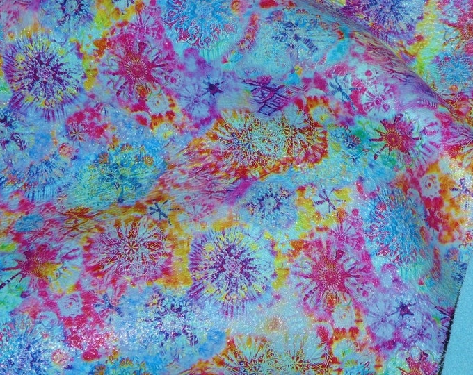 "Leather 12""x12"" Mandala AQUA Tie Dye Kaleidoscope Cowhide 2.5-3 oz/1-1.2 mm PeggySueAlso™ E7150-03 Limited, on order p"