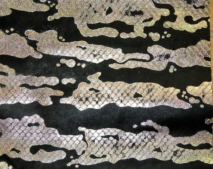 "Leather 2 pieces 12""x12"" Metallic Iridescent ANACONDA Water Ripples on Black Cowhide 2 oz / .8 mm PeggySueAlso™ E2855"