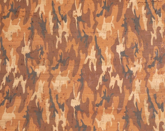 """CoRK 8""""x10"""" RUST and BROWN cork CAMO on cork applied to Leather for body/strength Thick 5oz/2mm E5610-117"""