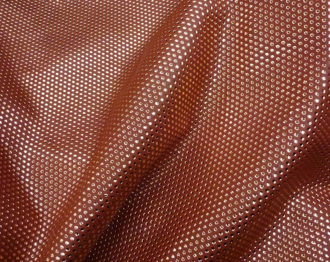 """Leather CLOSEOUT 5""""x11"""" Small ROSE Gold Metallic Polka Dots on TERRACOTTA  King Cowhide #354 4 oz/1.6mm PeggySueAlso™ E3095-35"""