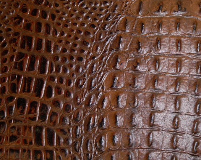"""Leather 12""""x12"""" Alligator COGNAC with Chocolate tips croc Embossed Cowhide 2.5-2.75oz/1-1.1 mm PeggySueAlso™ E2860-11 hides available"""