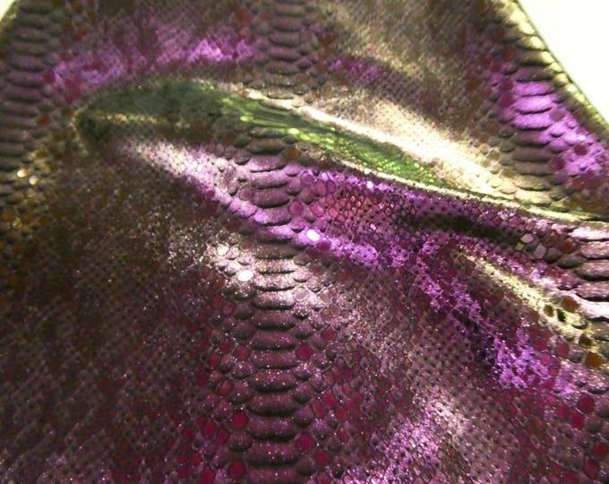 "Metallic Leather 12""x20"" or 10""x24"".. Mystic Python Iridescent CHAMELEON on BLACK Calfskin 3.5 oz / 1.4 mm E2868-53 hides available"