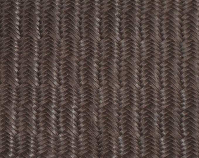 """Leather 12""""x12"""" Braided ITALIAN Fishtail CHOC0LATE JERSEY BROWN Cowhide 2.5-3 oz / 1-1.2 mm PeggySueAlso™ E3160-27 Limited (on order)"""