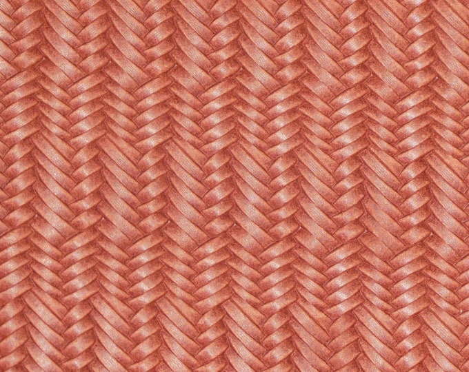 "NeW 12""x12"" FISHTAIL Italian Braided RUST / BRICK Leather 2.5-3 oz /1-1.2 mm PeggySueAlso™ E3160-74 hides available"