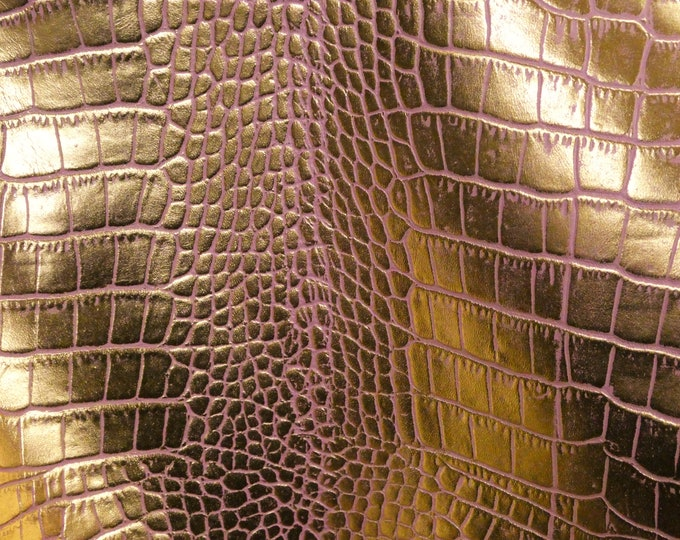 """Metallic Leather 12""""x12"""" Croco Electra  GOLD  on BLUSH PINK Cowhide 2-2.5 oz / 0.8-1 mm PeggySueAlso™ E8125-07 Full Hides Available"""