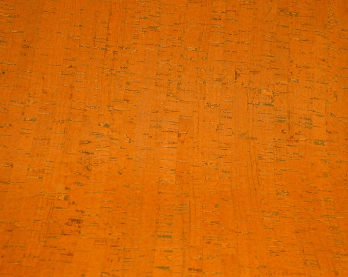 "New Cork 8""x10"" ORANGE Cork applied to Cowhide GENUINE Leather for body/strength Thick 5oz/2mm E5610-56 Hides too"