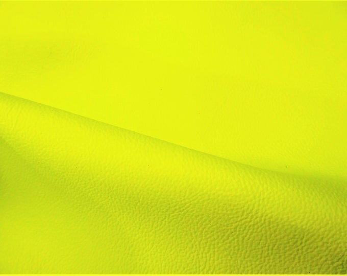 """Neon Leather 5""""x11""""  PEBBLED Yellow Neon Soft COWHIDE shows the grain 2.75-3 oz / 1.1-1.2 mm #100 PeggySueAlso™ E2530-03B (more on order)"""