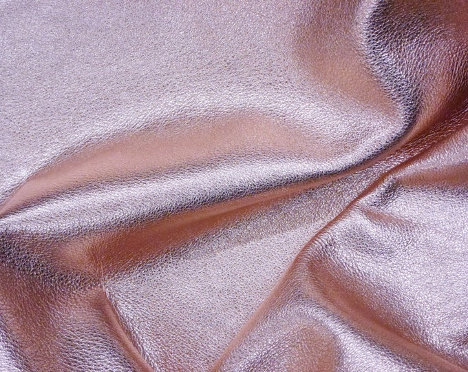 """Light PINK Pebbled Metallic 12""""x12"""" Soft cowhide - shows the grain  3-3.25 oz / 1.2-1.3 mm PeggySueAlso™ E4100-04 full hides available"""