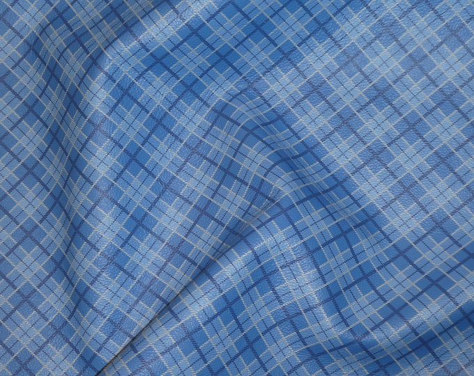 "NEW Leather 12""x12"" Multi BLUE Tartan Plaid Print Cowhide 3-3.5 oz / 1.2-1.4 mm PeggySueAlso™ E2178-09"