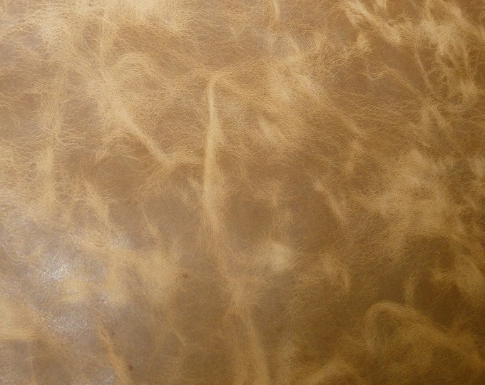 "Leather 8""x10"" PULL UP Aged look CAMEL Distressed Cowhide 3-3.75 oz /1.2-1.5mm PeggySueAlso™ E2930-02 Limited (more on order)m"